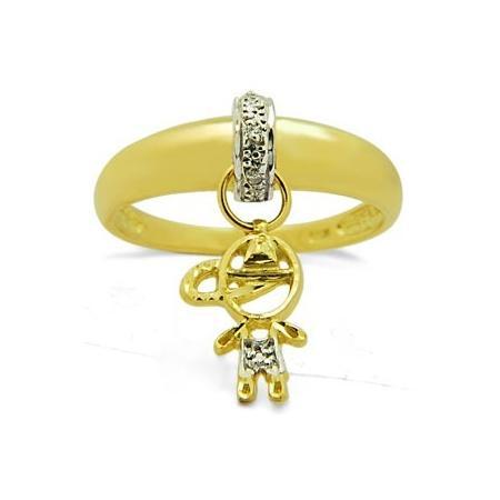 8c68df1070 Anel Pingente Menino Ouro 18k 5 Diamantes
