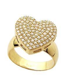 9579f15810bfb Anel em Ouro 18k Coração com 100 Diamantes